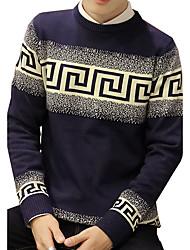 Herren Standard Pullover-Ausgehen Lässig/Alltäglich Retro Einfach Street Schick Solide Geometrisch Druck Blau Rot Beige Orange