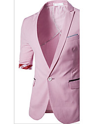 Men's Casual/Daily / Party/Cocktail Simple Spring / SummerSolid V Neck Long Sleeve Pink Cotton