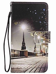 For LG K10 K7 NEXUS 5X Lss775 Xpower Case Cover City Scenery Painted Lanyard PU Phone Case