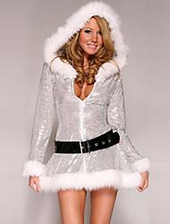 Costumes de Cosplay Costumes de père noël Fête / Célébration Déguisement Halloween Argent Mosaïque Robe / Plus d'accessoires Noël Féminin