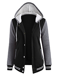 Casual/Daily Active Hoodie Jacket Color Block Round Neck Micro-elastic Cotton Long Sleeve Fall Winter