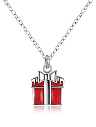Christmas Jewelry Enamel Red Gift Box Cute Shaped Pendant Silver Plated Necklace For Women Girl's Jewery gift N916