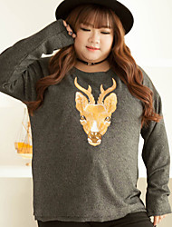 KELIXUAN Women's Casual/Daily Cute Winter T-shirtEmbroidered Crew Neck Long Sleeve Brown Polyester Medium