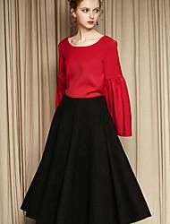 Damen Röcke,A-Linie einfarbigLässig/Alltäglich Einfach Mittlere Hüfthöhe Midi Elastizität Polyester Micro-elastisch Riemengurte / Herbst