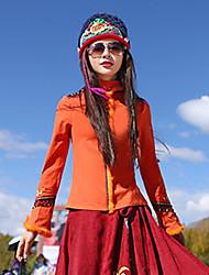 Feminino Camiseta Casual Boho Outono,Bordado Laranja Algodão / Elastano Colarinho Chinês Manga Longa