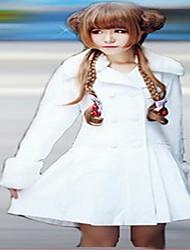 Feminino Casaco Casual Simples / Fofo Primavera / Outono,Sólido Colorido Lã Colarinho de Camisa-Manga Longa Média