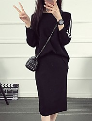 Women's Casual/Daily Simple Spring / Fall Set Skirt Suits,Striped Round Neck Long Sleeve Black / Purple Cotton Medium