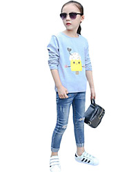 Girl Casual/Daily Solid Sweater & Cardigan,Cotton Spring / Fall Long Sleeve Short