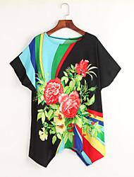 Tee-shirt Aux femmes,Fleur Soirée / Cocktail Bohème / Chic de Rue Eté Manches Courtes Col Arrondi Noir Rayonne Fin