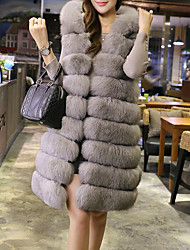 Women's Casual/Daily Street chic / Sophisticated Fur Coat,Solid Hooded Sleeveless Fall / Winter Gray Faux Fur / Polyester Thick