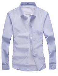 Men's Casual/Daily Simple Fall Shirt,Solid Shirt Collar Long Sleeve Blue / White / Gray Cotton Thin