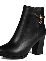 Women's Solid High-Heels Pointed Closed Toe PU Zipper Boots