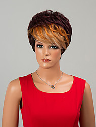Fashion Short Capless Wigs Straight Human Hair With bangs Ombre Wigs