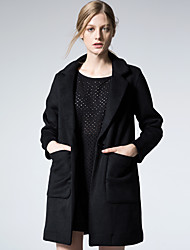 Manteau Femme,Couleur Pleine Sortie / Décontracté / Quotidien / Soirée / Cocktail simple / Chic de Rue Manches Longues Col de Chemise Noir