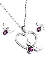 kalen®fashion jewellry definir aço inoxidável colorido de cristal libélula pingente de colar e brincos define para as mulheres