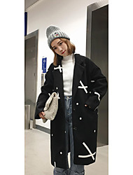 Sign new winter 2016 Korean fashion clip cotton embroidery it loose woolen coat long section of female