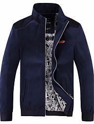 Masculino Jaqueta Casual / Tamanhos Grandes Simples Primavera / Outono,Sólido Azul / Bege Algodão / Acrílico / Poliéster Colarinho Chinês-