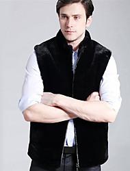 Masculino Casaco de Pêlo Tamanhos Grandes Moda de Rua Inverno,Sólido Preto Pêlo Sintético Colarinho Chinês-Sem Manga Grossa