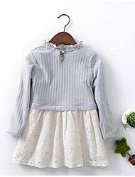 Girl's Casual/Daily Solid Dress,Cotton Winter / Spring / Fall