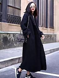 Damen Solide Street Schick / Anspruchsvoll Ausgehen / Party/Cocktail Trenchcoat,Alle Saisons Hemdkragen Langarm Schwarz Mittel Baumwolle