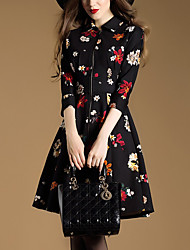 Women's Casual/Daily Vintage A Line Dress,Floral Square Neck Above Knee ¾ Sleeve Black Polyester Fall Winter Mid Rise Inelastic Medium