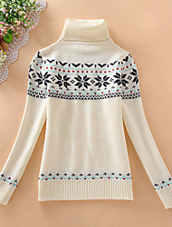 Court Pullover Femme Décontracté / Quotidien simple,Imprimé Blanc Col Roulé Manches Longues Laine Coton Automne Hiver Moyen