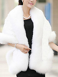 Women's Casual/Daily Simple Coat,Solid Long Sleeve Fall White Faux Fur Thick