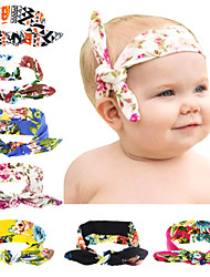Cute Baby Girl Cloth Turban Knot Headband Flowers Print Bowknot Headwear Floral Rabbit Ears Bow Elastic Hair Band Accessories