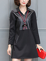 Women's Plus Size / Slim chic Loose DressPatchwork Shirt Collar Mini Long Sleeve Black Polyester Winter Mid Rise