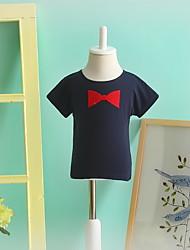 Camiseta Casual Cor Única Verão Algodão Manga Curta Regular