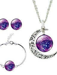 Mystical Galaxy Universe Time Gem Crescent Pendant Necklace Earrings Set for Women Holiday Gift(4Pcs/Set)