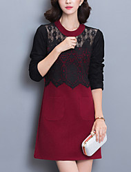 Women's Plus Size / Slim chic Lace DressPatchwork Round Neck Above Knee Long Sleeve Red / Black / Gray Polyester WinterMid