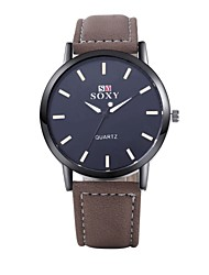 Men's Dress Watch Fashion Watch Wrist watch Water Resistant / Water Proof Quartz Leather Band Brown