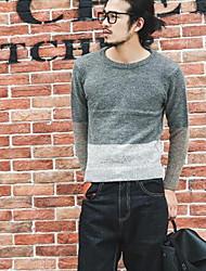 Herren Standard Pullover-Lässig/Alltäglich Einfach Einfarbig Grau Rundhalsausschnitt Langarm Kunst-Pelz Baumwolle Frühling Herbst Mittel