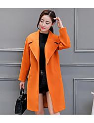 Manteau Femme,Couleur Pleine Sortie / Décontracté / Quotidien Vintage / simple / Chic de Rue Manches Longues Col en V Orange Polyester