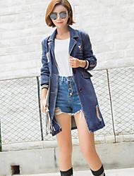 Women's Casual/Daily Street chic All Seasons / Fall Denim Jackets,Solid Notch Lapel Long Sleeve Blue Polyester Medium