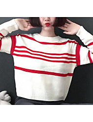 Women's Casual/Daily Simple Long Pullover,Striped Blue / White / Black Turtleneck Long Sleeve Cotton Fall Medium Micro-elastic