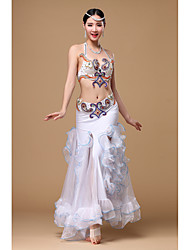 Belly Dance Outfits Women's Performance Polyester Crystals/Rhinestones Sequins 3 Pieces Sleeveless Dropped Skirt Bra Hip Scarf