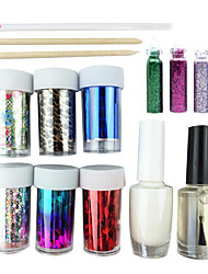 Nail Art Laser-Foil Sternen Set (6 Zufalls Foil Designs, Kleber, Top Coat, 3 Dekoration, 3-Stick)