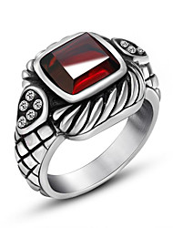 Ring AAA Cubic Zirconia Gemstone Gem Titanium Steel Black Red Jewelry Party Daily Casual 1pc