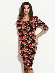 Women's Vintage V Back Half Sleeve Floral Print Midi Dress