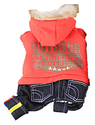 Dog Clothes/Jumpsuit Orange / Green Dog Clothes Winter / Spring/Fall Letter & Number Keep Warm