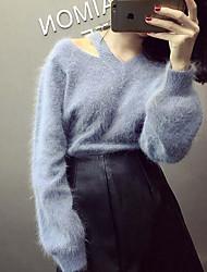 Normal Pullover Femme Décontracté / Quotidien simple,Couleur Pleine Bleu Col en V Manches Longues Acrylique Automne Hiver Moyen