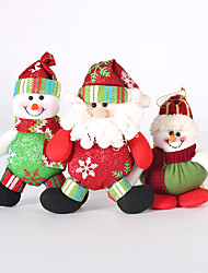 3PC Collapsible Hot Sale Christmas Decoration Santa Claus Snowman Christmas Figurines