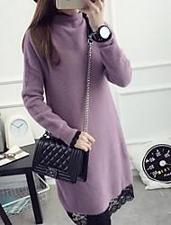 Damen Kurz Pullover-Ausgehen Retro Einfach Solide Lila Rundhalsausschnitt Langarm Baumwolle Frühling Herbst Mittel Mikro-elastisch