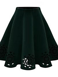 Women's Swing Solid Skirts,Going out / Party/Cocktail High Rise Above Knee Zipper Polyester Micro-elastic All Seasons