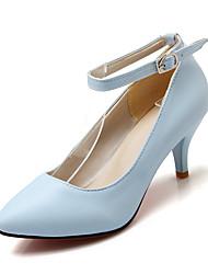 Damen-High Heels-Büro Kleid Lässig-PU-Kitten Heel-Absatz-Komfort Knöchelriemen-Schwarz Blau Rosa Lila Rot Beige