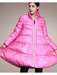 Women's Regular Down Coat,Simple Going out Solid-Polyester White Duck Down Long Sleeve Pink / Black