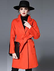Женский На каждый день Однотонный Пальто Лацкан с тупым углом,Простое Осень / Зима Красный Длинный рукав,Шерсть