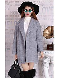 Sign Spot 2016 new winter long section of a large lapel OL commuter career temperament gray woolen coat female